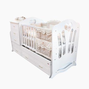 Patut bebelusi copii lemn Transformabil Anais alb