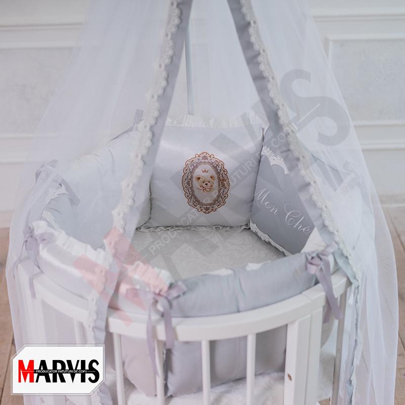 Lenjerie Patut Bebe / Copii 11 piese Mon Cheri Gri