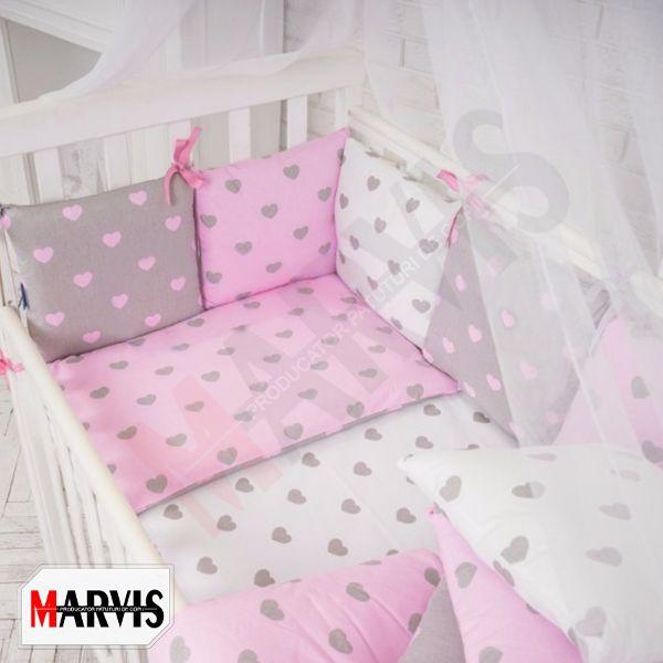 Lenjerie Inimioare Roz pentru patuturi bebe