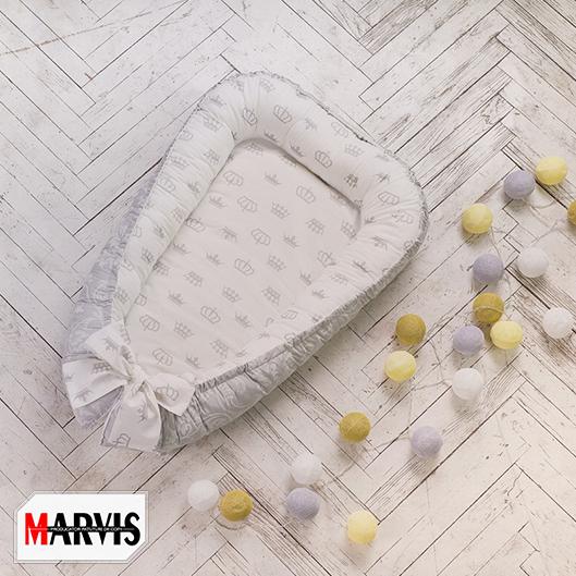 Baby Nest Alb cu Gri