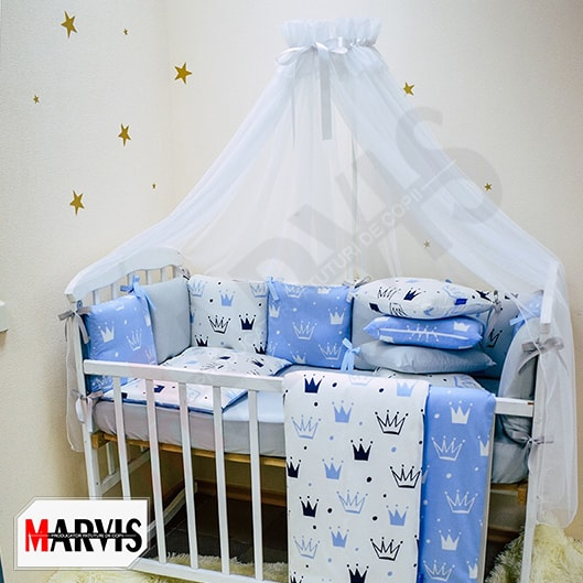 Lenjerie Patut Bebe / Copii 7 piese Crown Blue