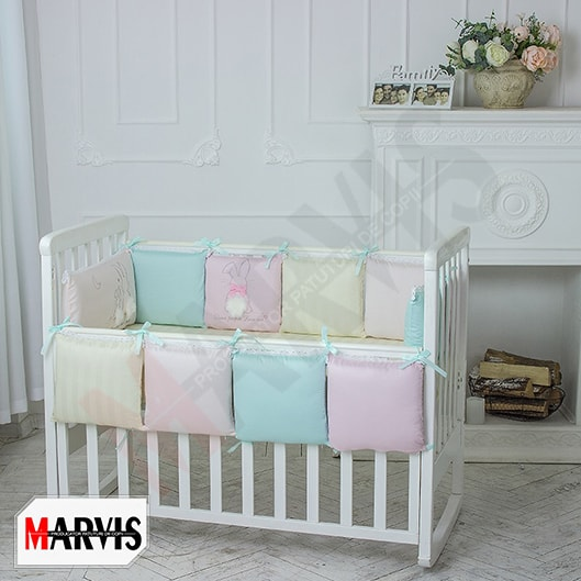 Lenjerie Patut Bebe / Copii 9 piese Bunny Pernute Colorate