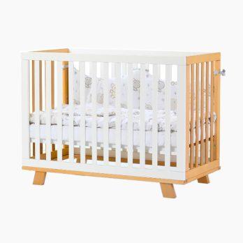 Patut bebelusi copii lemn Eric alb-natur