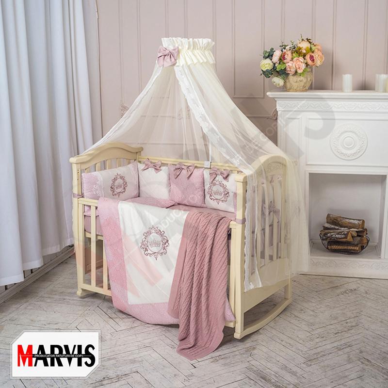Lenjerie Patut Copii / Bebe 8 piese Stylish roz