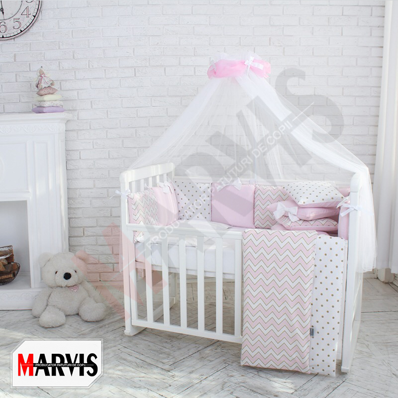 Lenjerie Patut Bebe / Copii 8 piese Dots roz