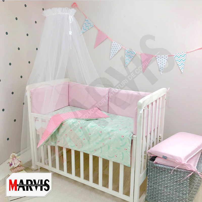 Lenjerie Patut Bebe / Copii 8 piese Simply roz
