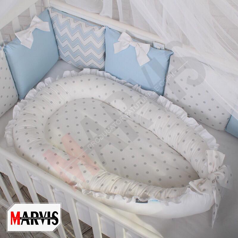Protectie somn – Baby Nest Dots albastru