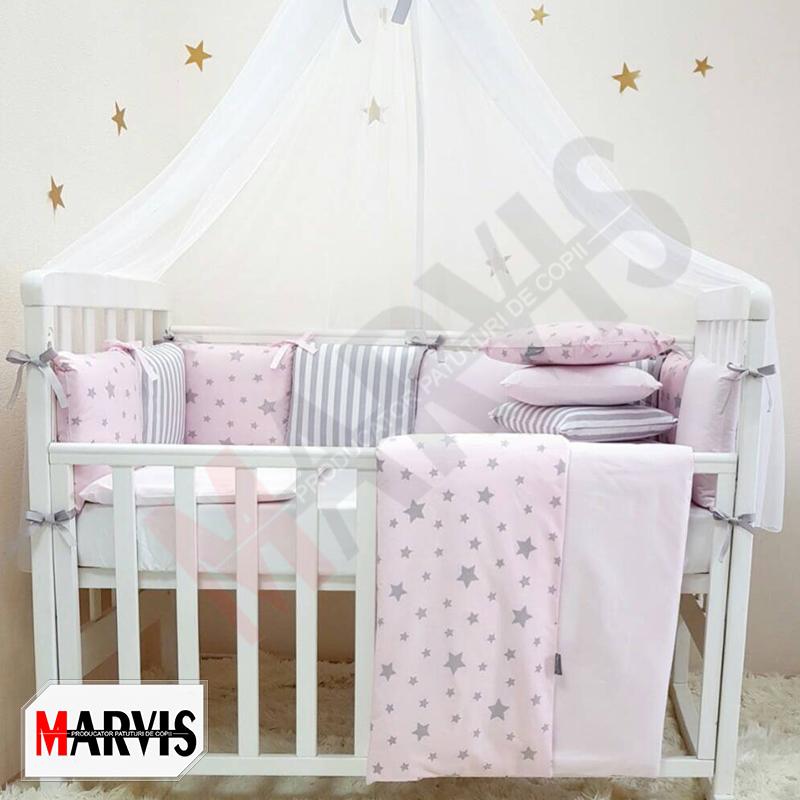 Lenjerie Patut Bebe / Copii 8 piese Basic Stele roz