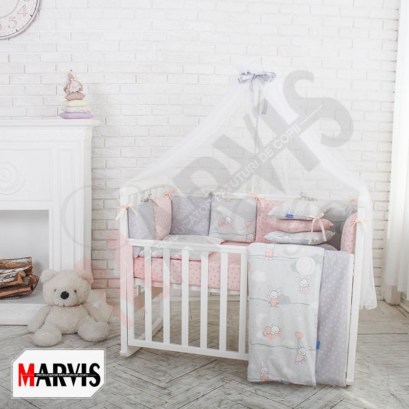 Lenjerie Patut Bebe / Copii 8 piese Basic Bunnies roz