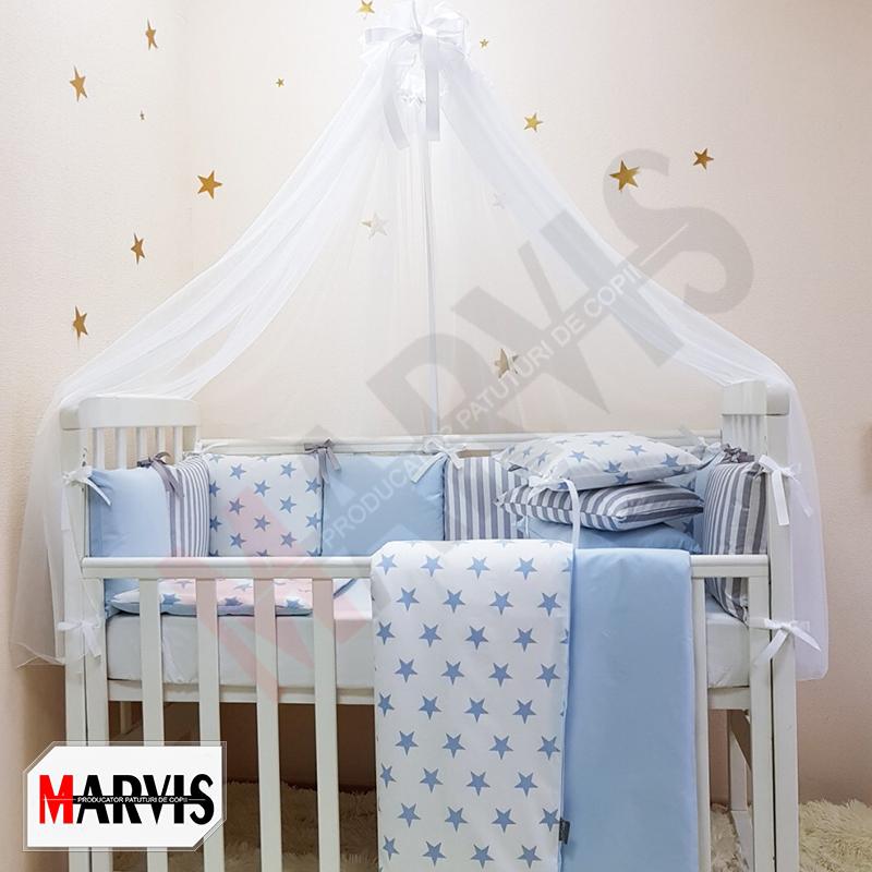 Lenjerie Patut Bebe / Copii 8 piese Basic Stele albastra