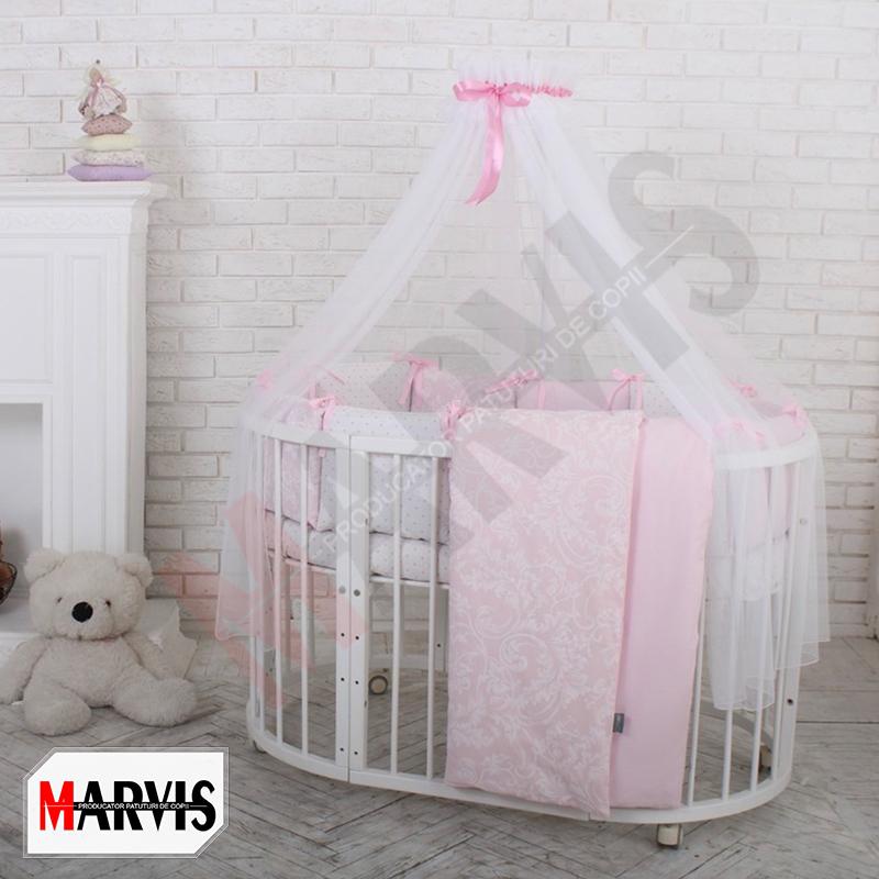 Lenjerie Patut Bebe / Copii 8 piese Basic Hearts roz