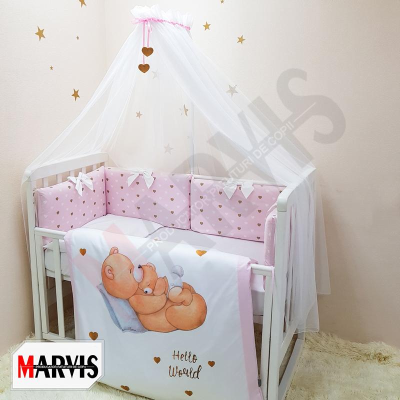 Lenjerie Patut Bebe / Copii 8 piese Happy Baby roz
