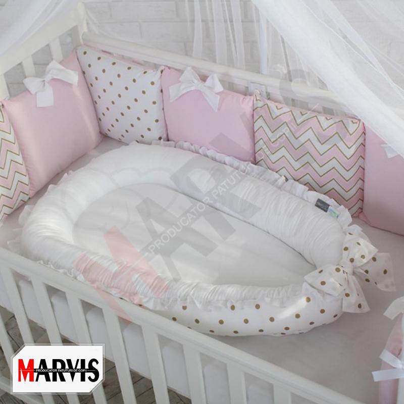 Protectie somn – Baby Nest Dots auriu