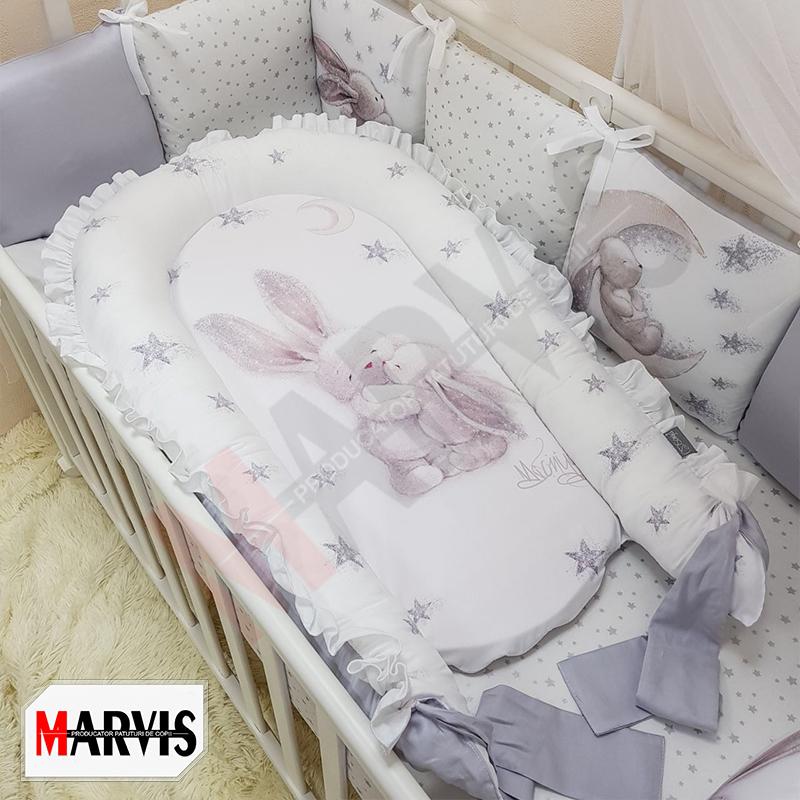 Protectie somn – Baby Nest Bunny 3D gri