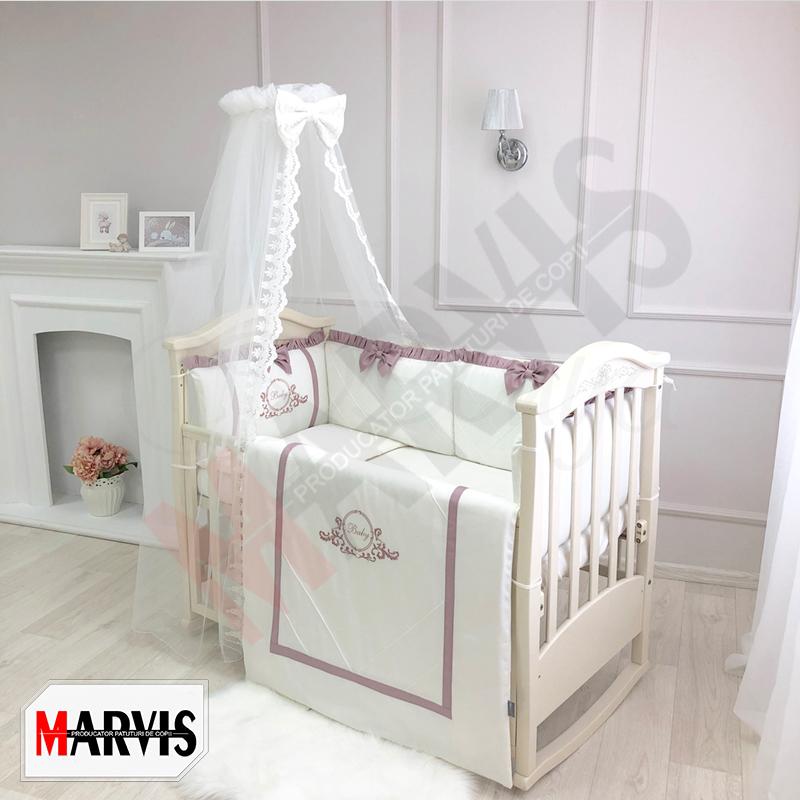 Lenjerie Patut Bebe / Copii 8 piese Baby King roz