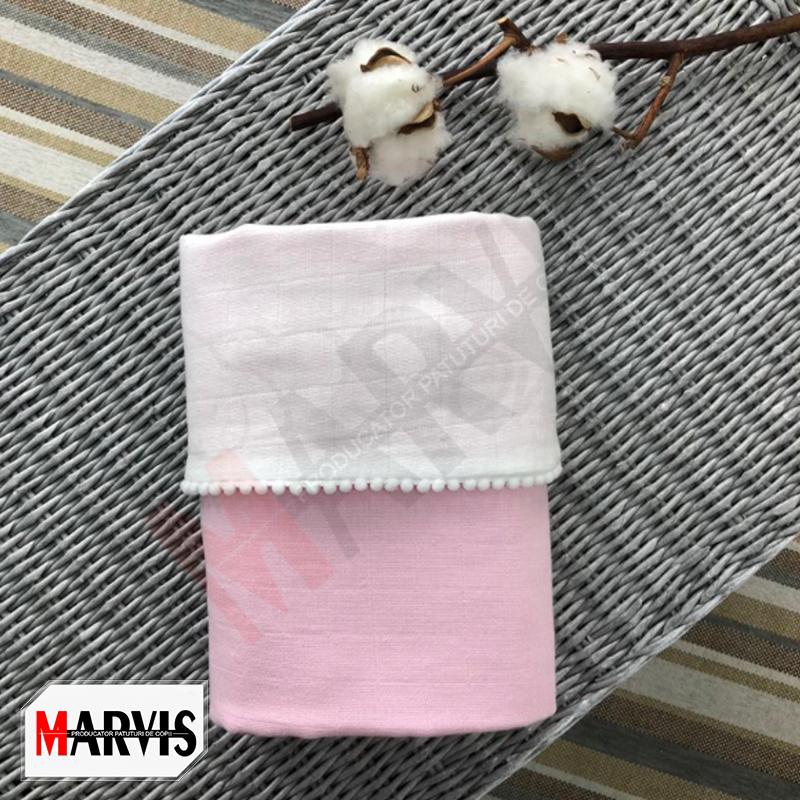 Paturica bebe din muselina alb-roz