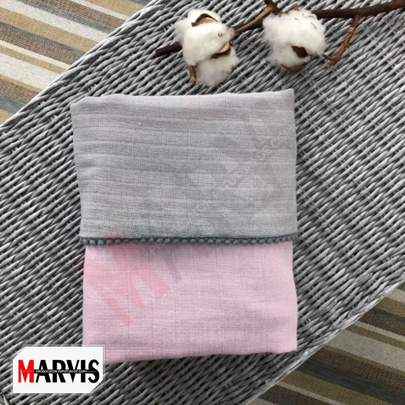 Paturica bebe din muselina gri roz