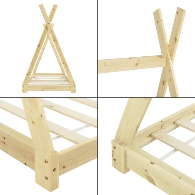 Pat din lemn masiv pentru copii