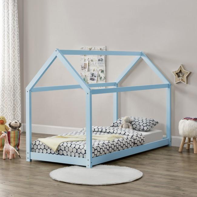 pat copii tip casa albastru