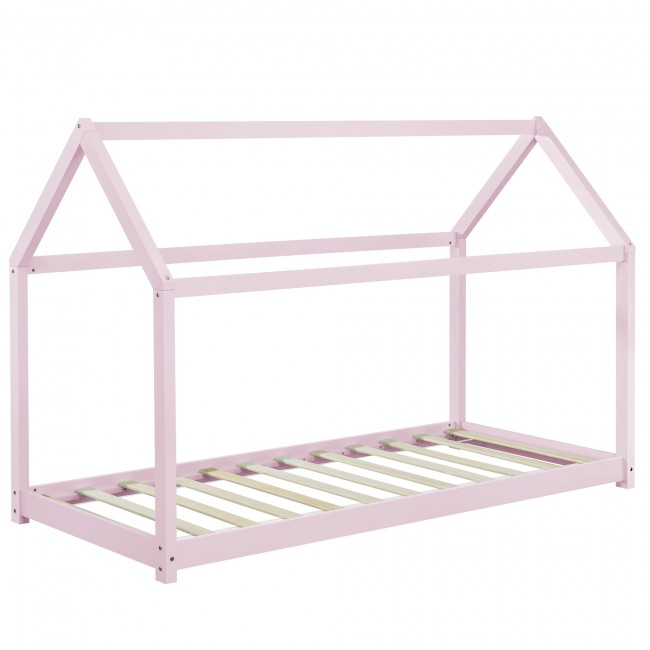 pat din lemn pentru adolescenti roz