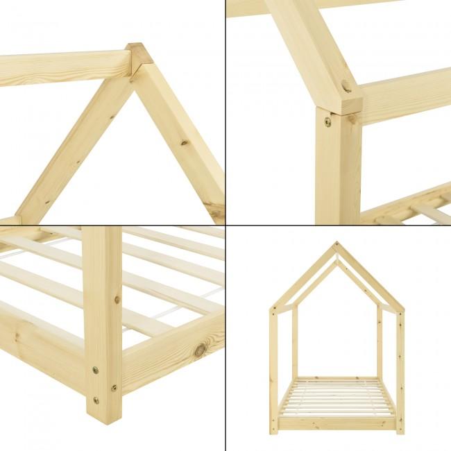pat din lemn pentru copii