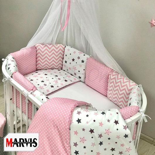 Lenjerie Baby Stars Pink pentru patut rotund