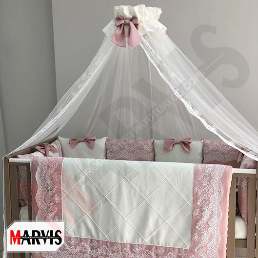 Lenjerie roz patut bebe fetite