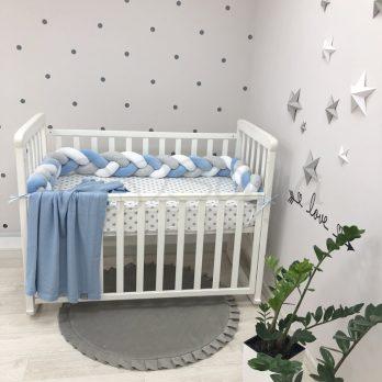 Protectie laterala patut bebe alb - albastru