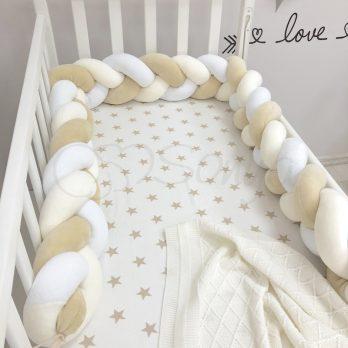 Protectie laterala patut bebe alb - bej
