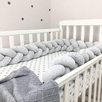 Protectie laterala patut bebe gri