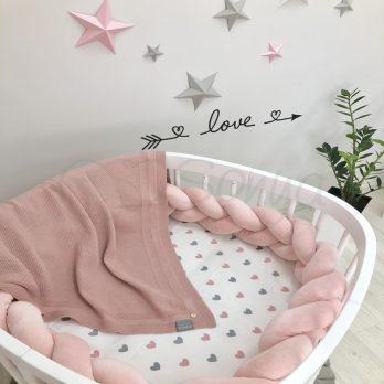 Protectie laterala patut bebe roz
