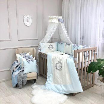 Lenjerie Patut Copii Bebe 8 piese Elegance blue