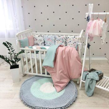 Lenjerie Patut Bebe Copii 6 piese Curcubeu