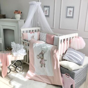 Lenjerie Patut Bebe Copii 9 piese Mouse pink